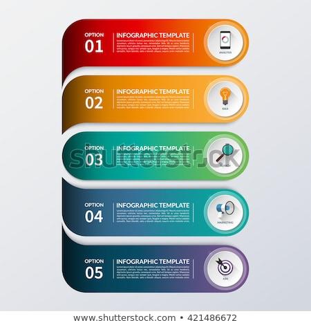 flat design five steps ribbon vector template stock photo © tuulijumala