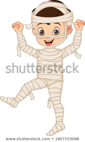 boy dresses in mummy for halloween stock photo © bluering