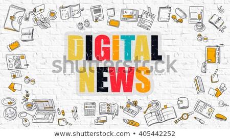Multicolor Digital News on White Brickwall. Doodle Style. Stock photo © tashatuvango
