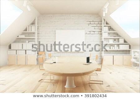 booking on laptop in conference room 3d stock photo © tashatuvango
