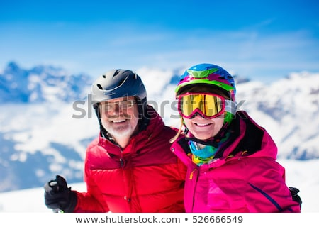 two women with skis smiling Stock photo © IS2