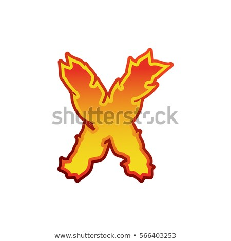 Letter X fire. Flames font lettering. Tattoo alphabet character. Stock photo © popaukropa