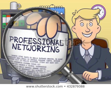 reglement · vergrootglas · doodle · stijl · man · kantoor - stockfoto © tashatuvango