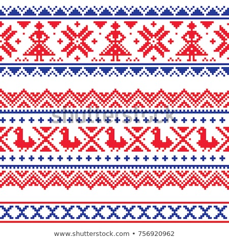 Sami band or belrd vector design, Lapland cross-stitch vector pattern, folk art Scandinavian, Nordic Stock photo © RedKoala