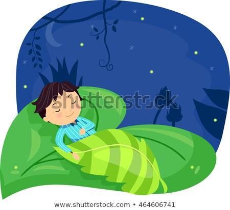 Stickman Kid Boy Sleeping Leaf Stock photo © lenm
