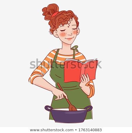 Nő olvas könyv tűzhely konyha otthon Stock fotó © wavebreak_media