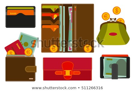 Male leather wallet isolated icon stock photo © studioworkstock