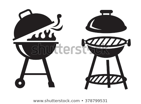 Barbecue grill with grilled pork icon Stock photo © studioworkstock