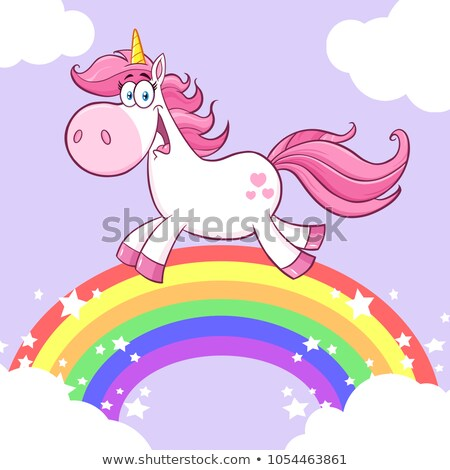 Stock fotó: Cute Magic Unicorn Cartoon Mascot Character Running