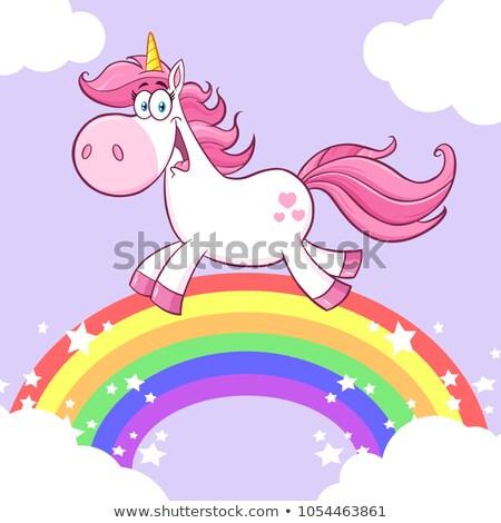 Cute Magic Unicorn Cartoon Mascot Character Running Stock photo © hittoon