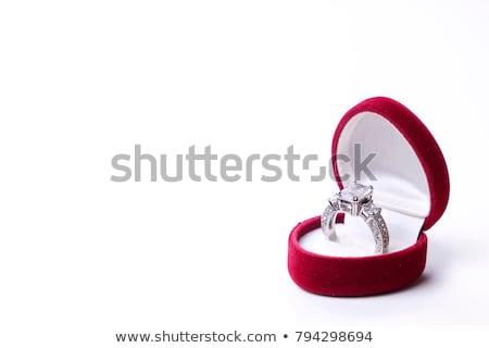 Piros szív doboz eljegyzési gyűrű pop art retro Stock fotó © studiostoks