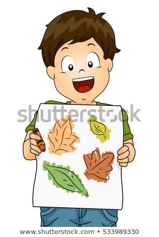 çocuk erkek yaprak mum boya örnek küçük Stok fotoğraf © lenm
