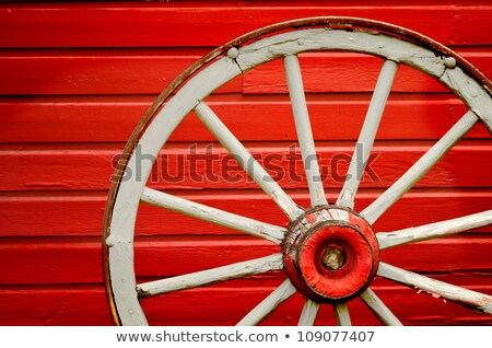 Old weathered red wagon wheel Stock photo © njnightsky