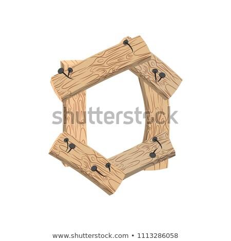 Numara ahşap tahta sıfır simge Stok fotoğraf © popaukropa