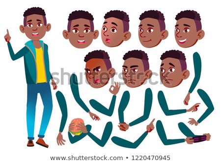 Teen Boy Poses Set Vector. Black. Afro American. Leisure, Smile. For Web, Brochure, Poster Design. I Stock photo © pikepicture