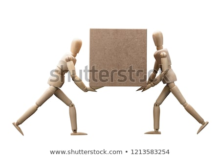 Wooden Dummy Carrying Cardboard Box Stock photo © AndreyPopov