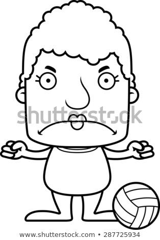 Desenho animado zangado praia voleibol jogador mulher Foto stock © cthoman