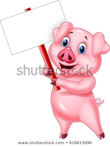 Cartoon porc signe illustration rose Photo stock © cthoman