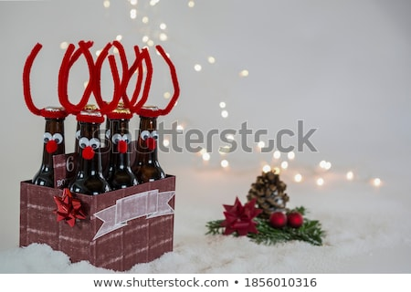merry christmas the red nosed reindeer with beer in christmas snow scene winter landscape stock photo © ori-artiste