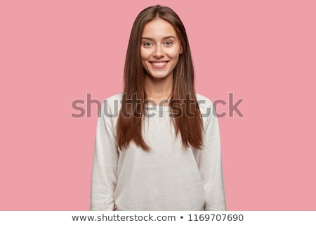 Retrato encantado mulher jovem suéter em pé isolado Foto stock © deandrobot