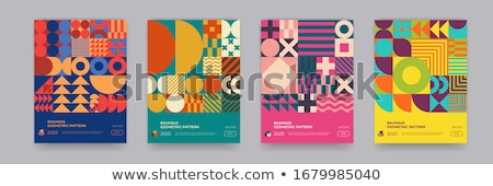 Geometric abstract square shape out of dots. Colorful circles shape . Square composition, modern tre stock photo © kyryloff