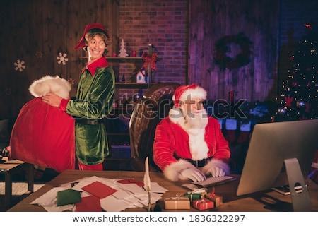 Happy elf carry sack Stock photo © colematt