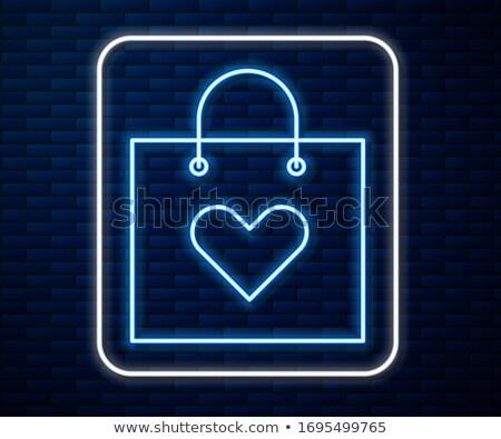 Szeretet bevásárlószatyor neonreklám románc promóció boldog Stock fotó © Anna_leni