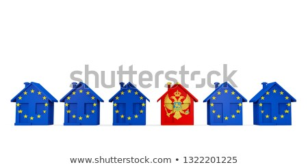 House with flag of montenegro in a row of EU flags Stock photo © MikhailMishchenko