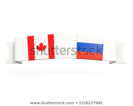 Banner with two square flags of canada and russia Stock photo © MikhailMishchenko