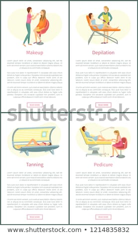 Makeup Visagiste and Tanning Posters Set Vector Stock photo © robuart