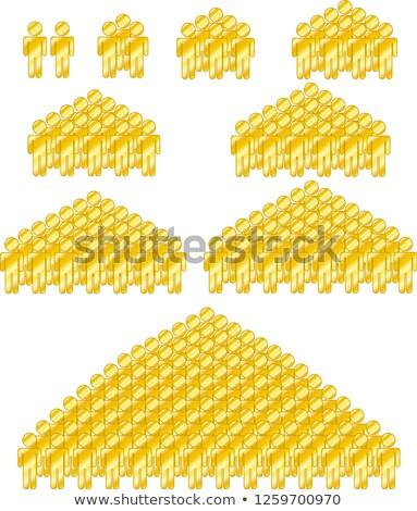 Altın insanlar ayarlamak siluet ikon Stok fotoğraf © Blue_daemon