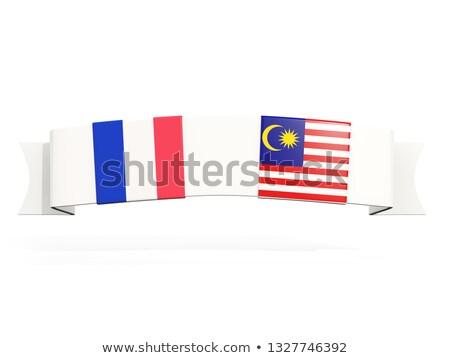 Szalag kettő tér zászlók Franciaország Malajzia Stock fotó © MikhailMishchenko