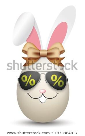 Naturalnych easter egg zając kłosie okulary procent Zdjęcia stock © limbi007