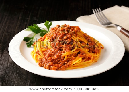 spaghetti bolognese pasta and wine stock photo © karandaev