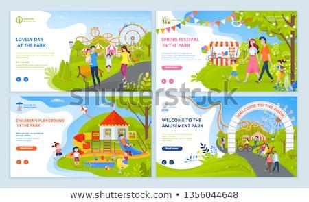 Nap park gyerekek játszótér szett vektor Stock fotó © robuart