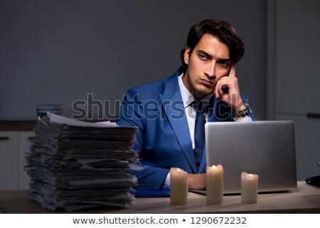 cansado · empresário · trabalhando · tarde · escritório · café - foto stock © elnur