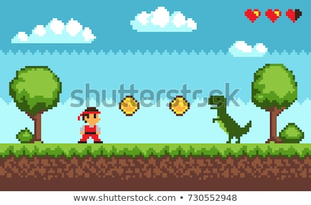 Green Tree and Bush with Grass, Pixel Game Vector Stock photo © robuart