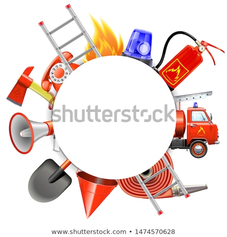 Vector Fire Prevention Round Frame Stock photo © dashadima
