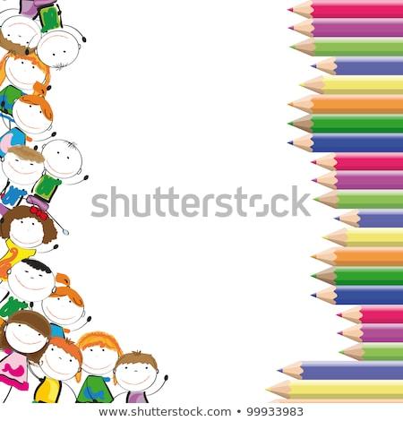 de · volta · à · escola · crianças · cartaz · crianças · leitura · livros - foto stock © izakowski