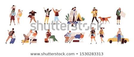 Vrienden bagage luchthaven vector mannen permanente Stockfoto © robuart