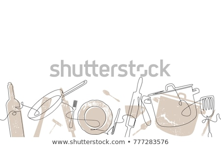 料理 木製 台所用テーブル 先頭 表示 ストックフォト © karandaev