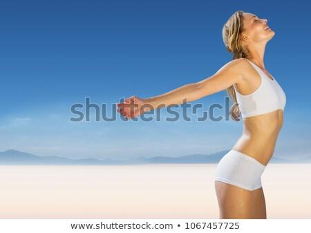 女性 · ヨガ · ホーム · 太陽 · 小さな - ストックフォト © wavebreak_media