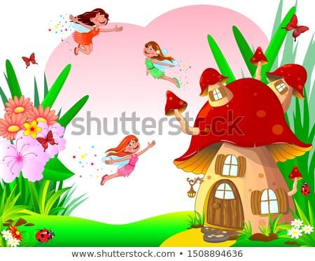 felice · cartoon · funghi · faccia · parlando · retro - foto d'archivio © liolle