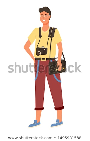 Young Amator Photographer in Glasses, Photo Camera Stock photo © robuart