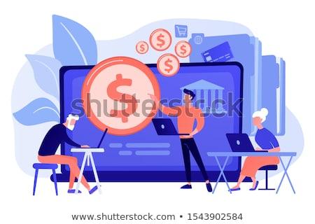 doradca · finansowy · komputera · człowiek · projektu · bar · biurko - zdjęcia stock © rastudio