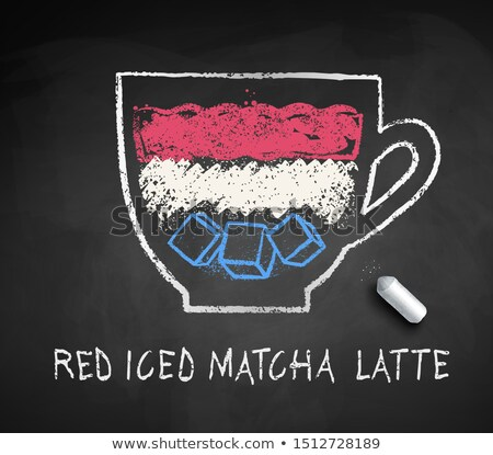 vector sketch of iced red matcha latte stock photo © sonya_illustrations