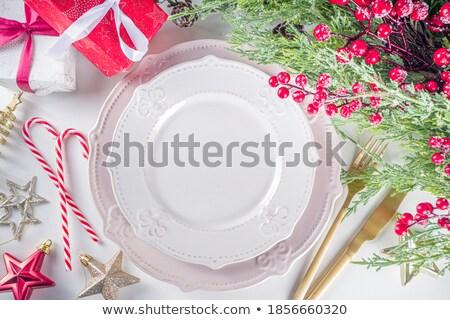 karácsony · asztal · hely · díszítések · menü · copy · space - stock fotó © feverpitch