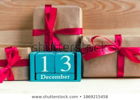 Cubos diciembre rojo blanco mesa Foto stock © Oakozhan