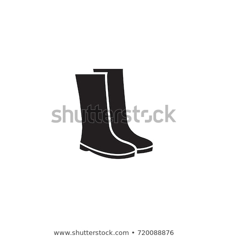 Rain boots. Icon on black and white background. Winter footwear vector illustration Stock photo © Imaagio