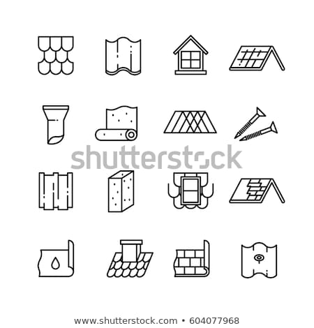 Waterproof Material Roof Vector Thin Line Icon Stock photo © pikepicture